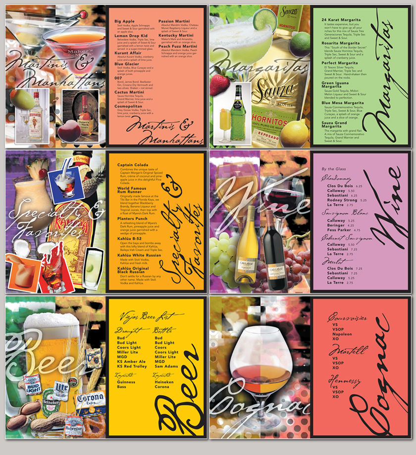 Restaurant drink menu design illustration